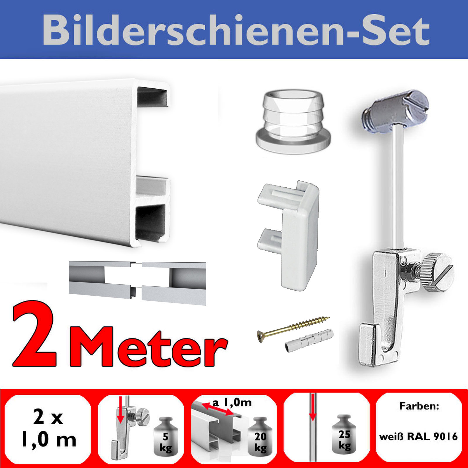 galerieschiene mit gleiter 2 m bilderschienen set mit zubeh r wei ebay. Black Bedroom Furniture Sets. Home Design Ideas