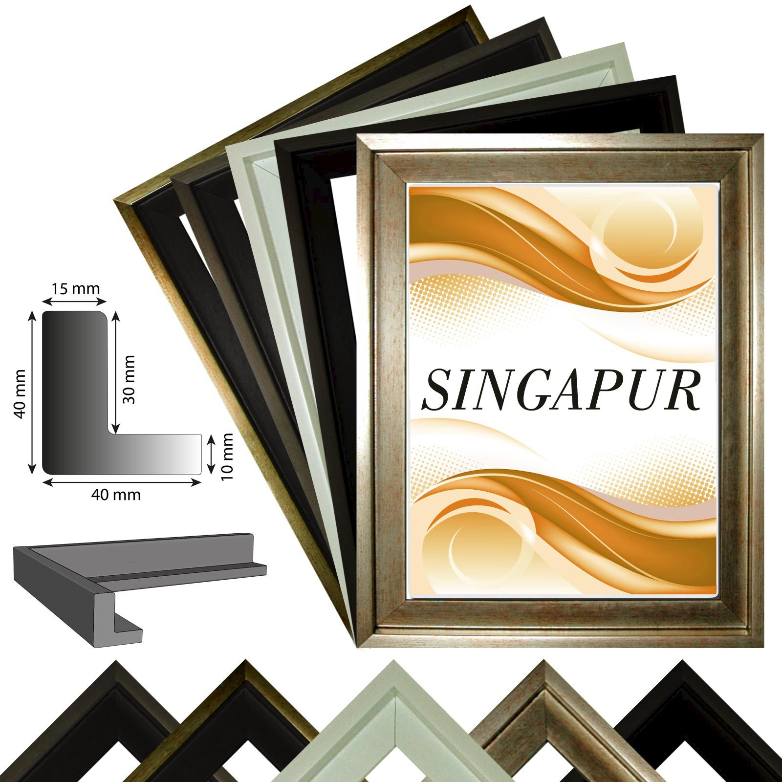 ombre frame singapur pour la toile impressions sur toile en 5 couleurs ebay. Black Bedroom Furniture Sets. Home Design Ideas