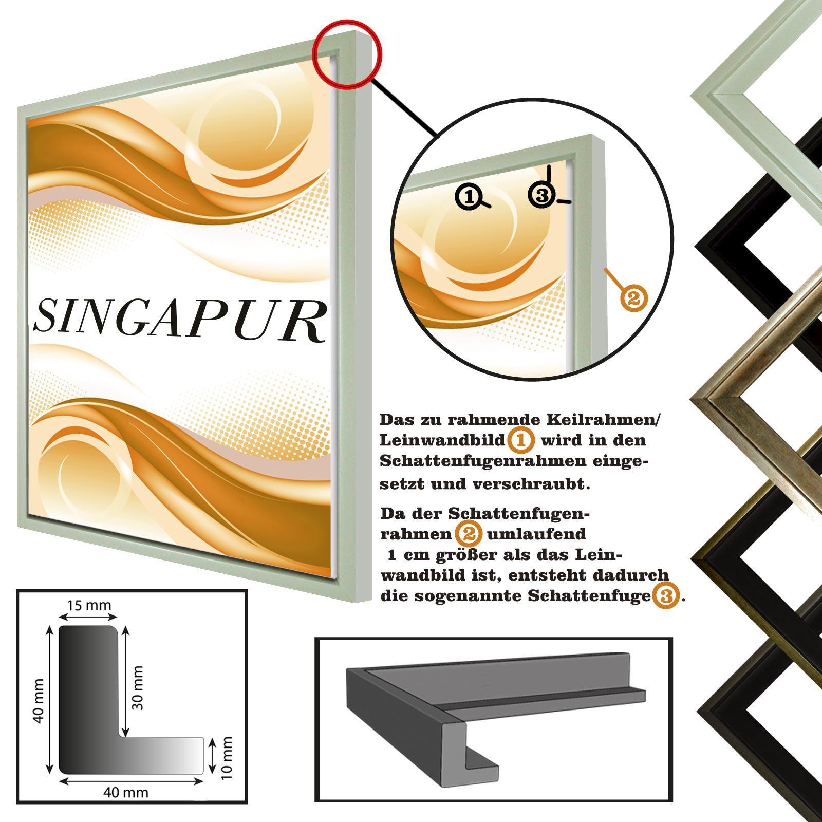 Schattenfugenrahmen SINGAPUR für Leinwand,- Keilrahmenbilder in 5 ...