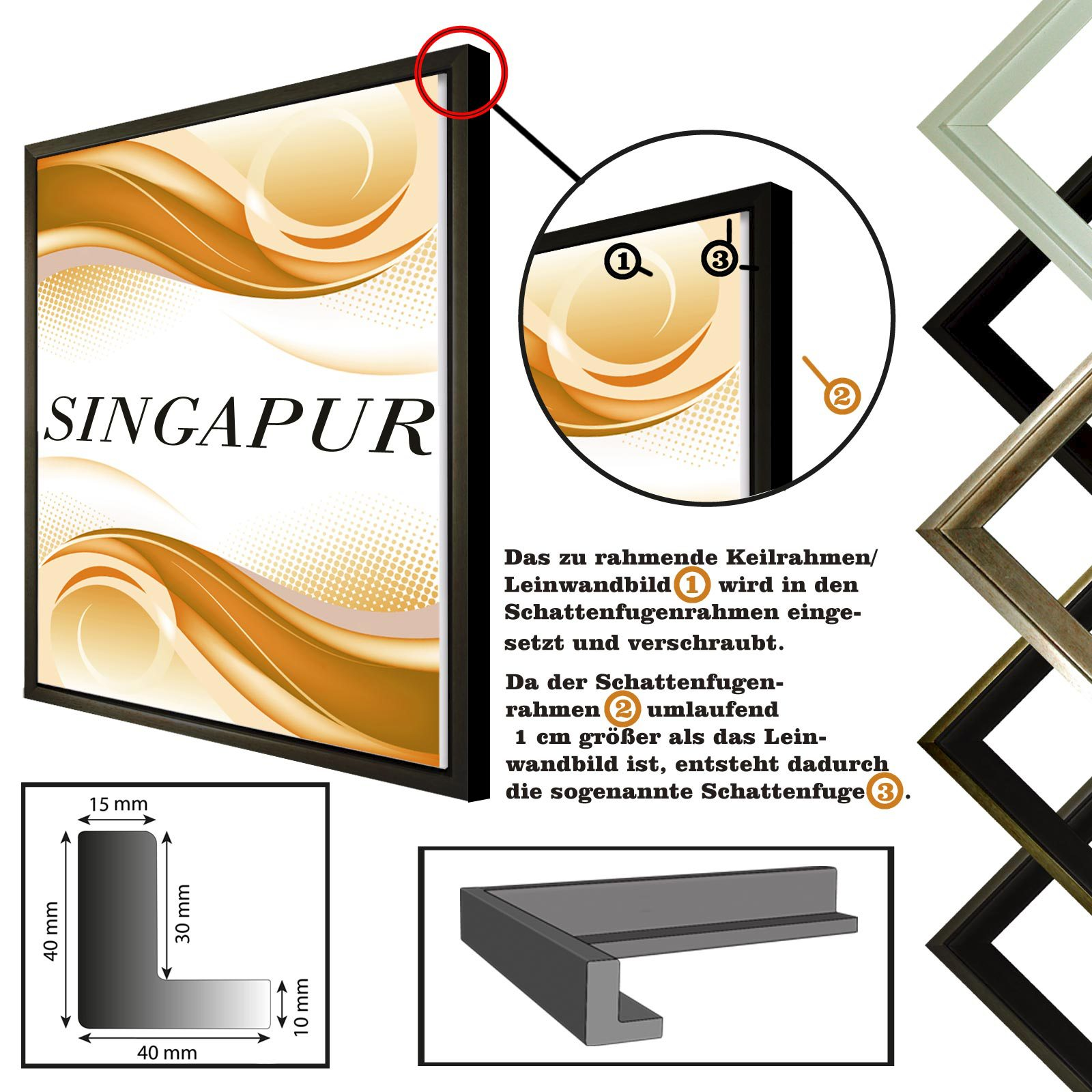 Ombre-frame-SINGAPUR-pour-la-toile-Impressions-sur-toile-en-5-couleurs