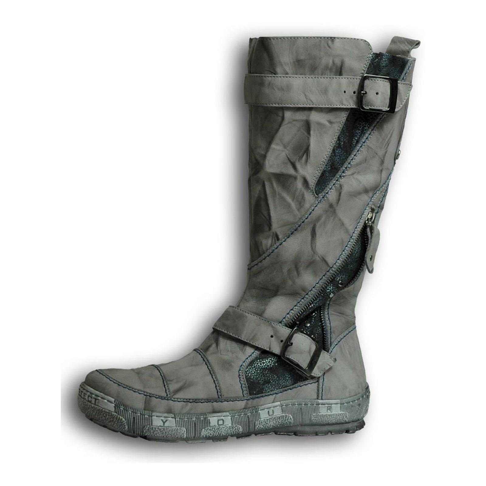 fermeture à avec grises pour sur Détails bottes femmes glissière Krisbut RjqcS354AL
