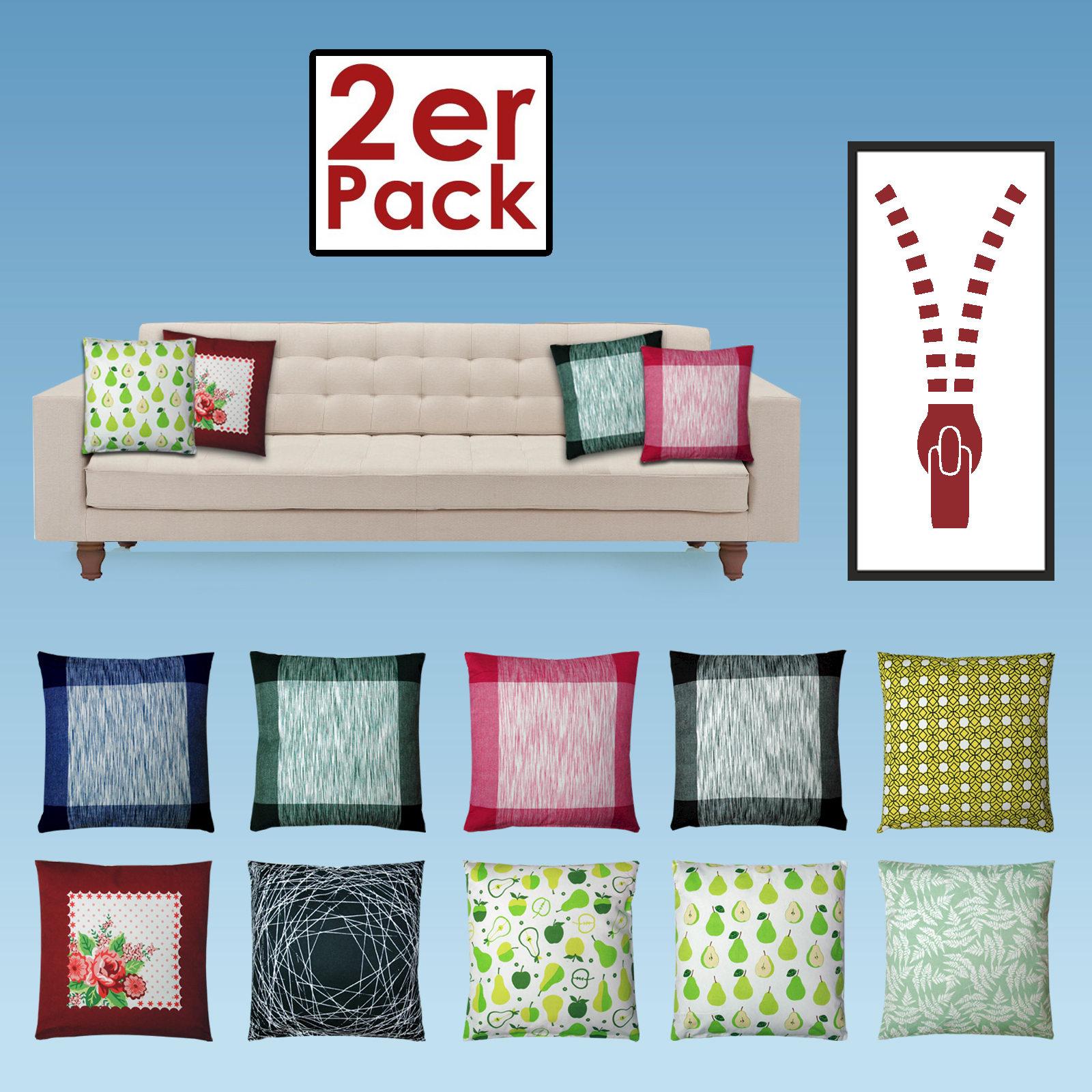 lot de 2 oreiller coussin canap 45x45cm 100 coton avec la farce diff rente ebay. Black Bedroom Furniture Sets. Home Design Ideas