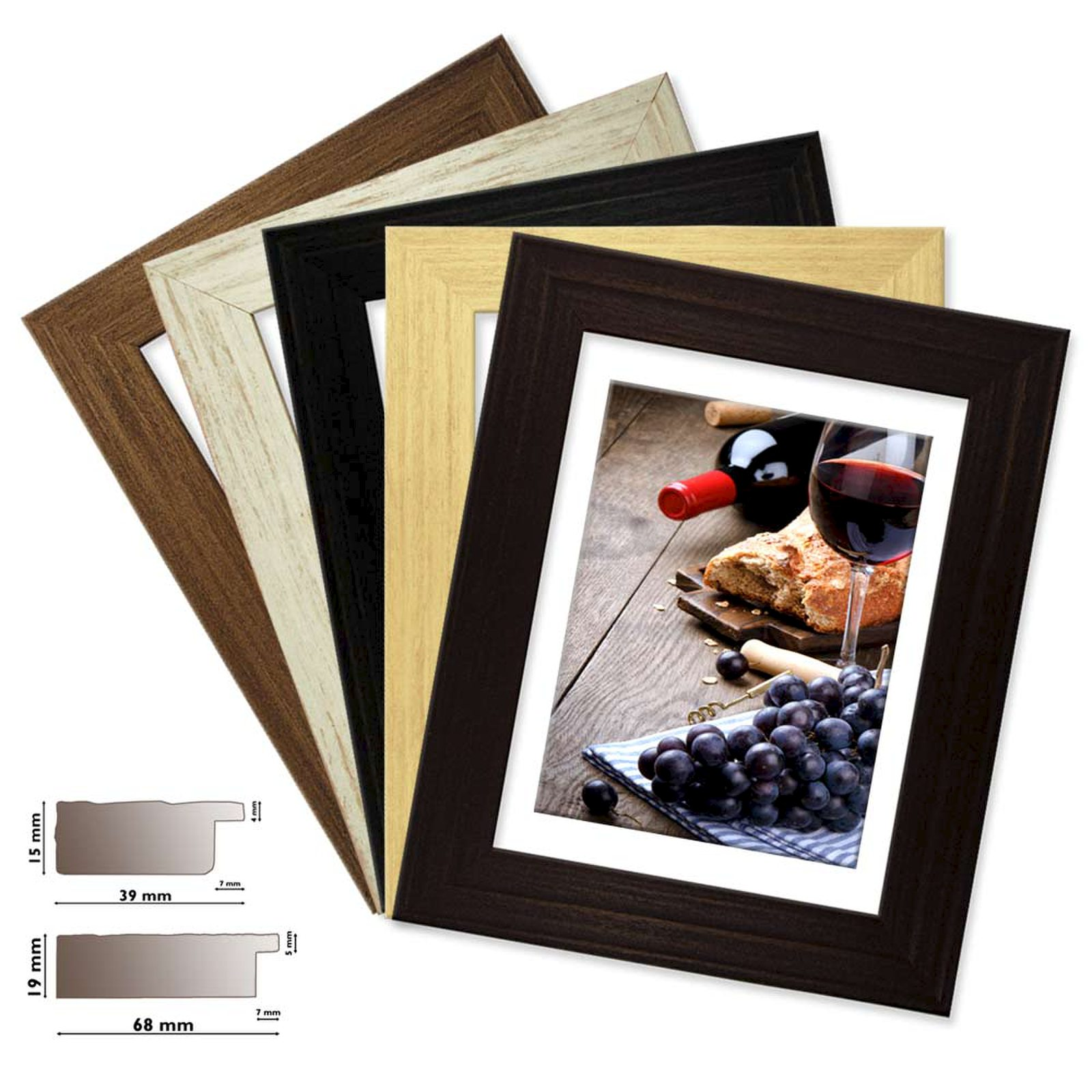 Details about Wood Frame Colorado, in 5 Mats Colours, Picture Frame Wood 1  9/16in