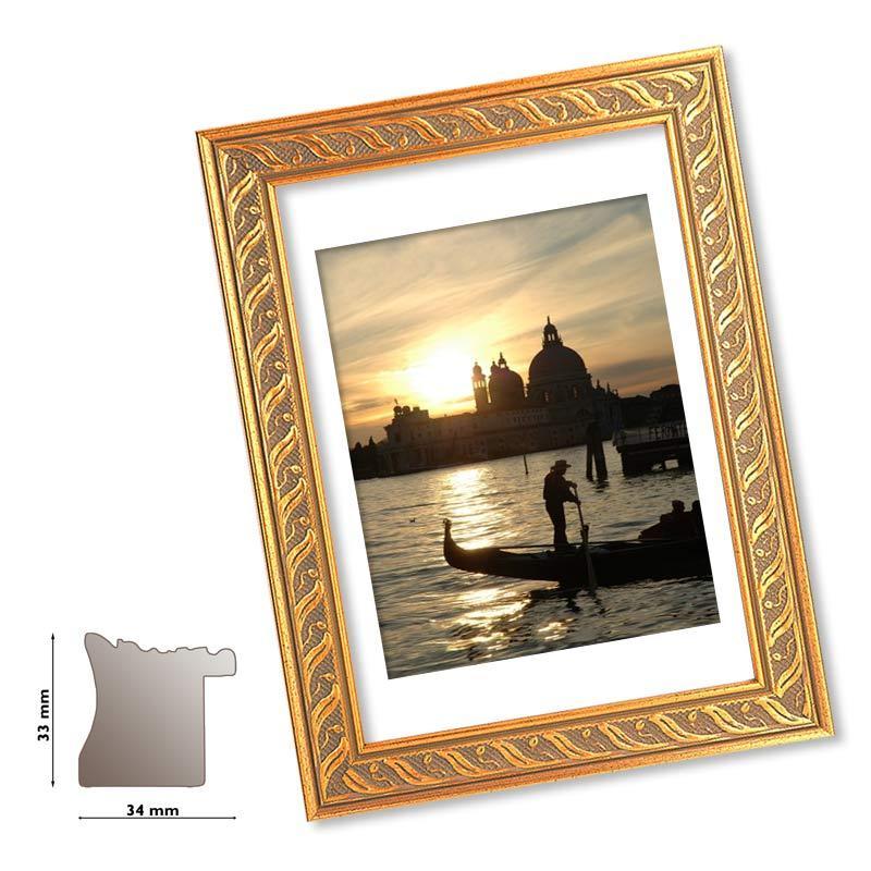 Plastik-Rahmen VENEZIA gold verziert, Profil 33 mm, Bilderrahmen ...