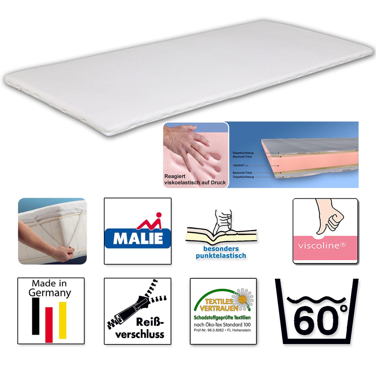 malie topper sirius matratzenauflage mit visco schaum kern ebay. Black Bedroom Furniture Sets. Home Design Ideas
